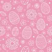 Nahtloses Muster mit dekorativen Eiern und Blumen. Osterhintergrund. Vektor