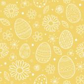Osterhintergrund mit Eiern und Blumen. Packpapier-Konzept. Vektor
