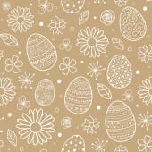 Handgezeichnete Ostereier und Blumen. Konzept eines Hintergrunds. Vektor