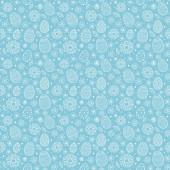 Nahtlose Textur mit handgezeichneten Ostereiern und Blumen. Vektor
