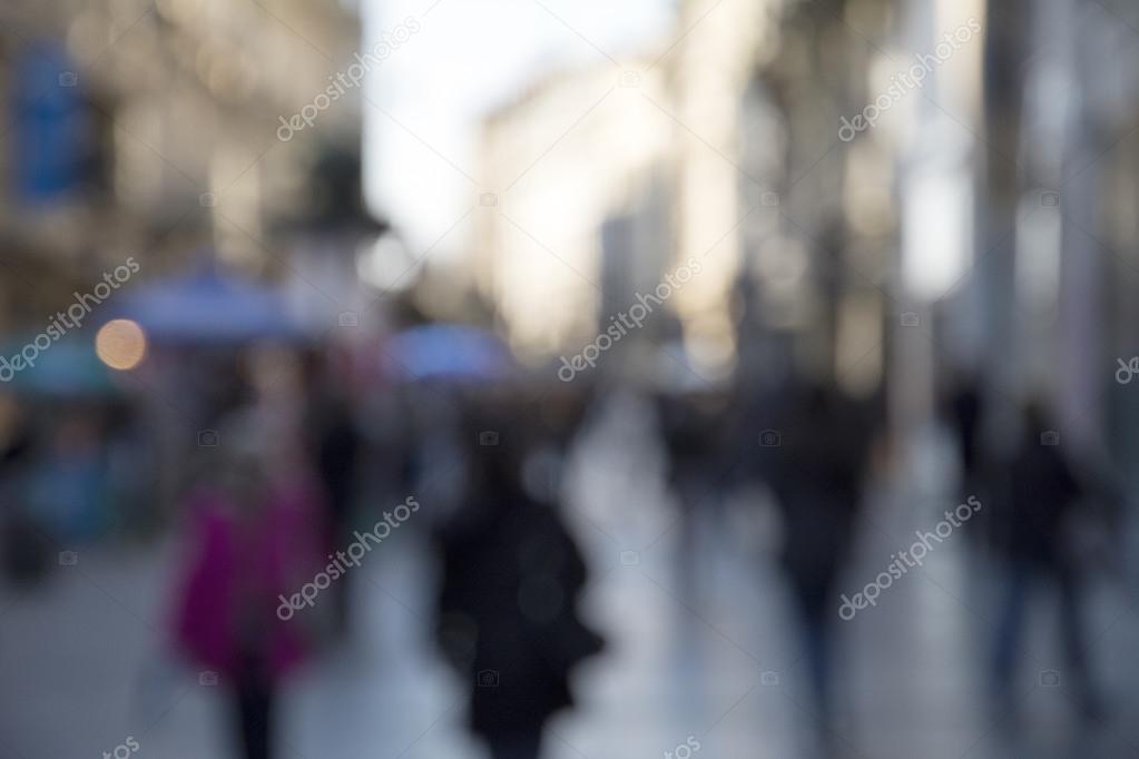 People in bokeh, street of Belgrade