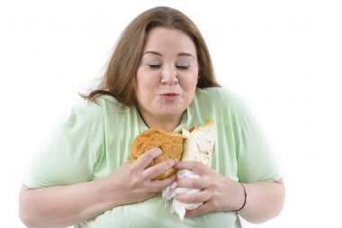 Corpulent Woman Having Addiction to Unhealthy Food