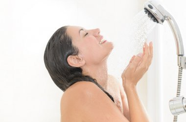 Woman enjoying a shower