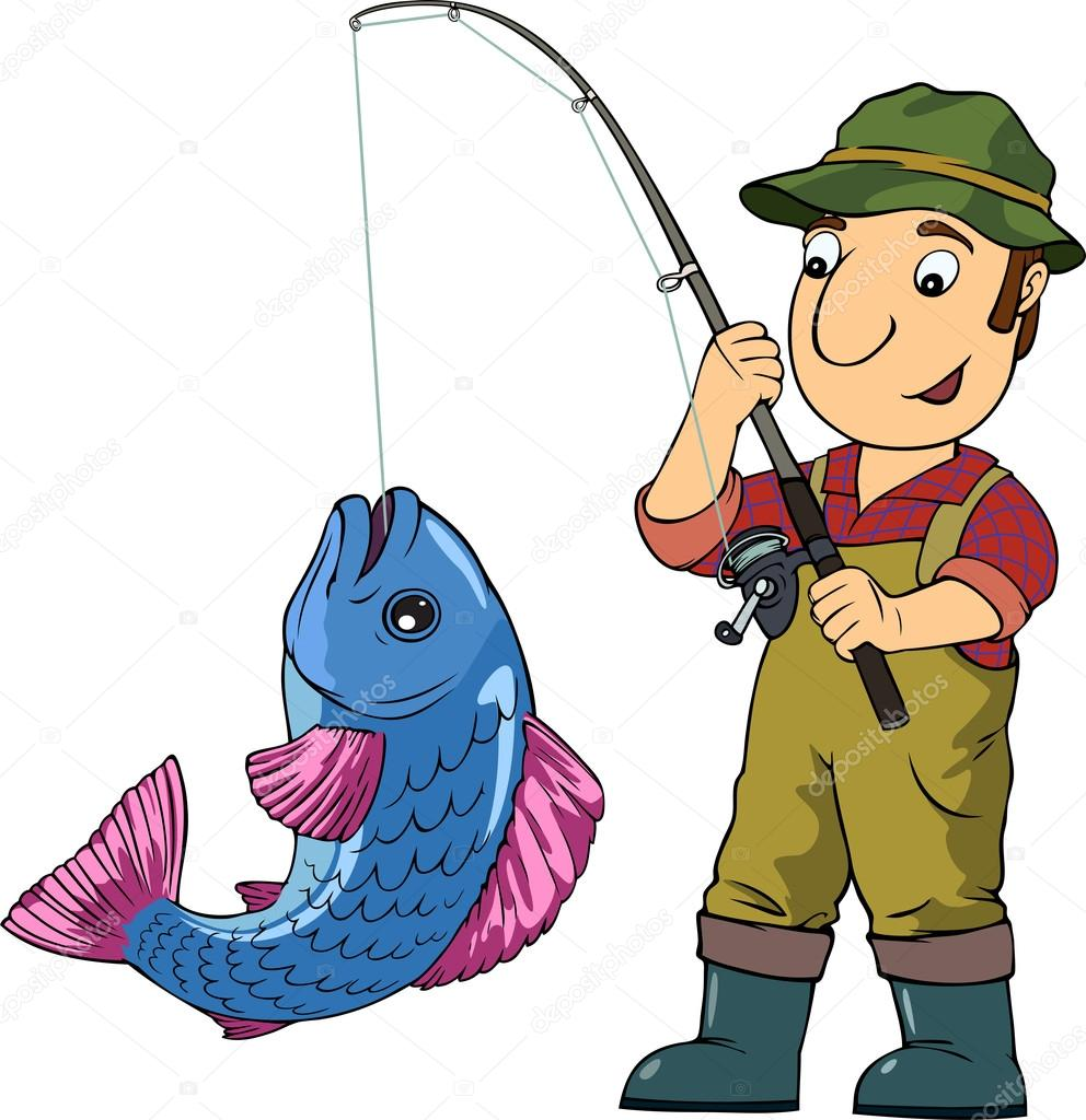 Fisherman Catching Big Fish Stock Vector Kirill13 97418372