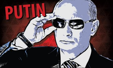 Vladimir Putin - Russia's president. Vector illustration in style comics picture