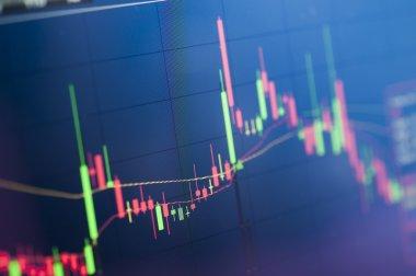 Stock market graph on screen display stock vector