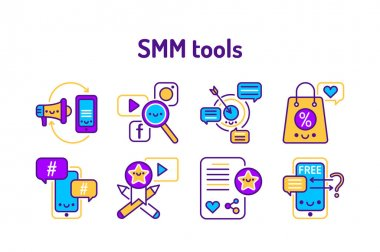 SMM promotion service outline concept. Advertising line color icons. Rent service. Pictograms for web page, mobile app, promo. icon