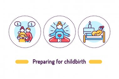 Preparation for childbirth outline concept. Pregnancy line color icons. Pictograms for web page, mobile app, promo. icon