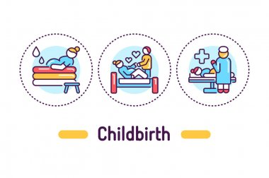 Childbirth outline concept. Maternity hospital service line color icons. Pictograms for web page, mobile app, promo icon
