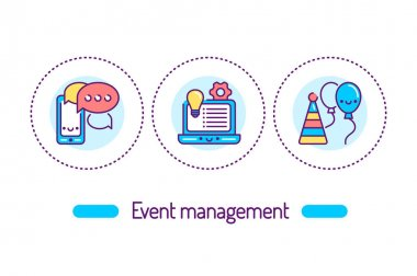 Event management outline concept. Service organization holidays line color icons. Pictograms for web page, mobile app, promo. icon