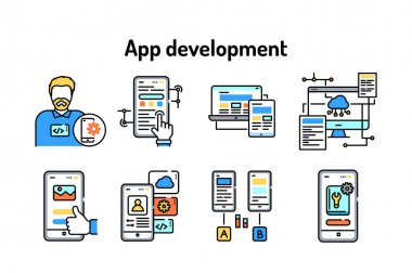 App development black line icons set. Creating and using a mobile application. Pictograms for web page, mobile app, promo. UI UX GUI design elements. Editable stroke icon