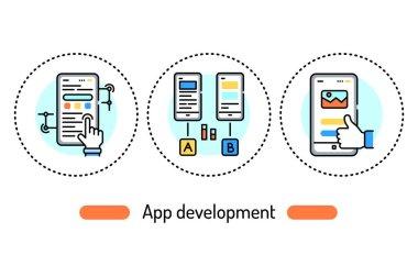 App development outline concept. Technology line color icons. Pictograms for web page, mobile app, promo. icon