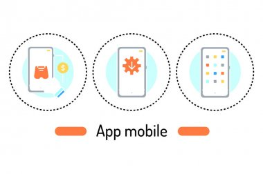 App mobile outline concept. Technology line color icons. Pictograms for web page, mobile app, promo icon