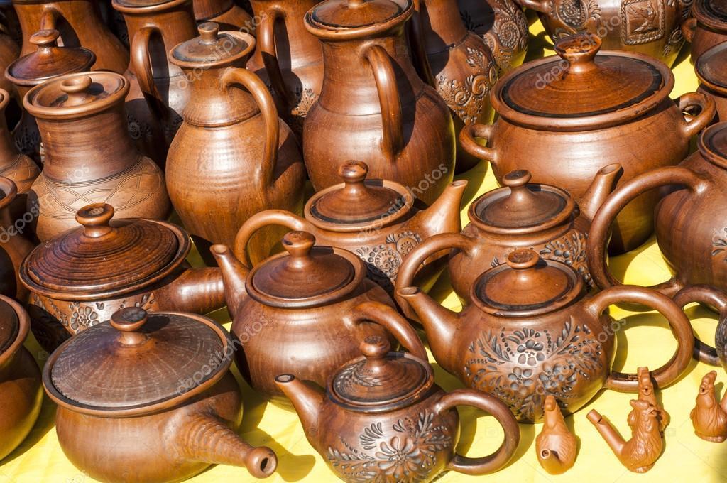 Steinzeug Steingut steinzeug keramik geschirr steingut clayware stockfoto