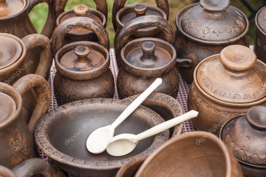 Steinzeug Geschirr steinzeug keramik geschirr steingut clayware stockfoto