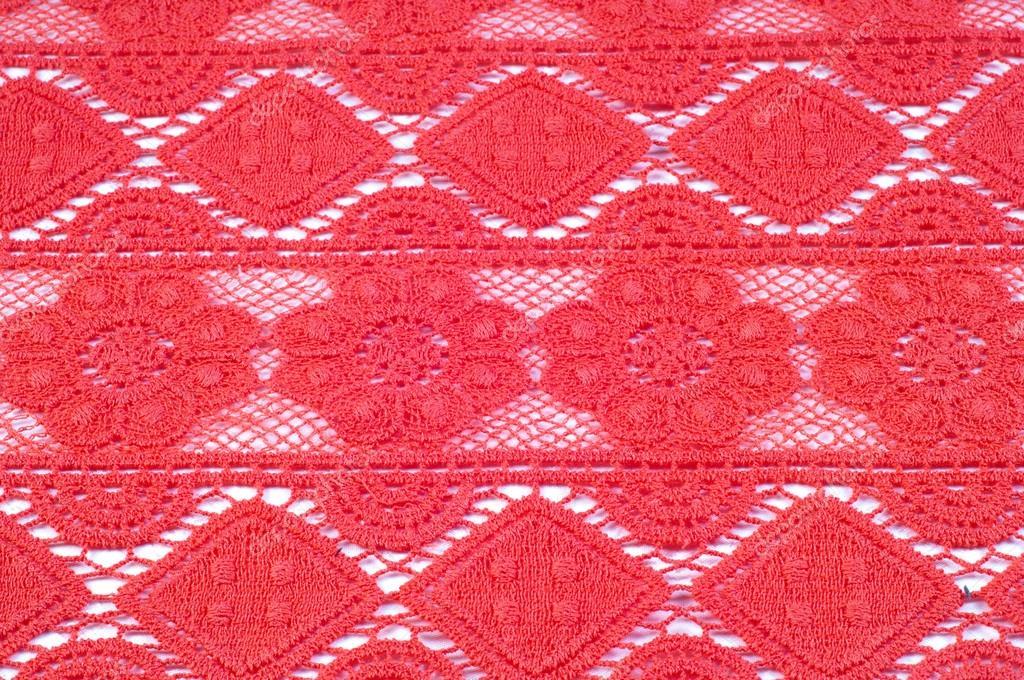 Textura De La Tela De Encaje Rojo