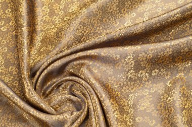 Silk fabric texture, color Light Goldenrod Yellow, with small fl