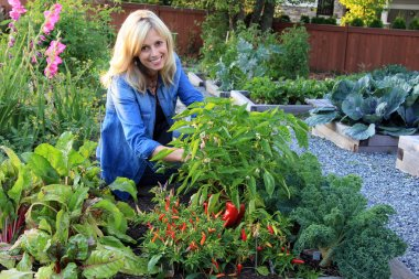 Woman in the vegetable garden