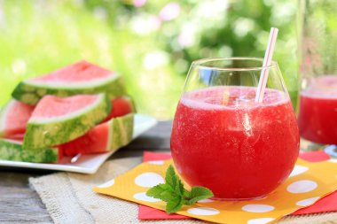 watermelon drink with straw