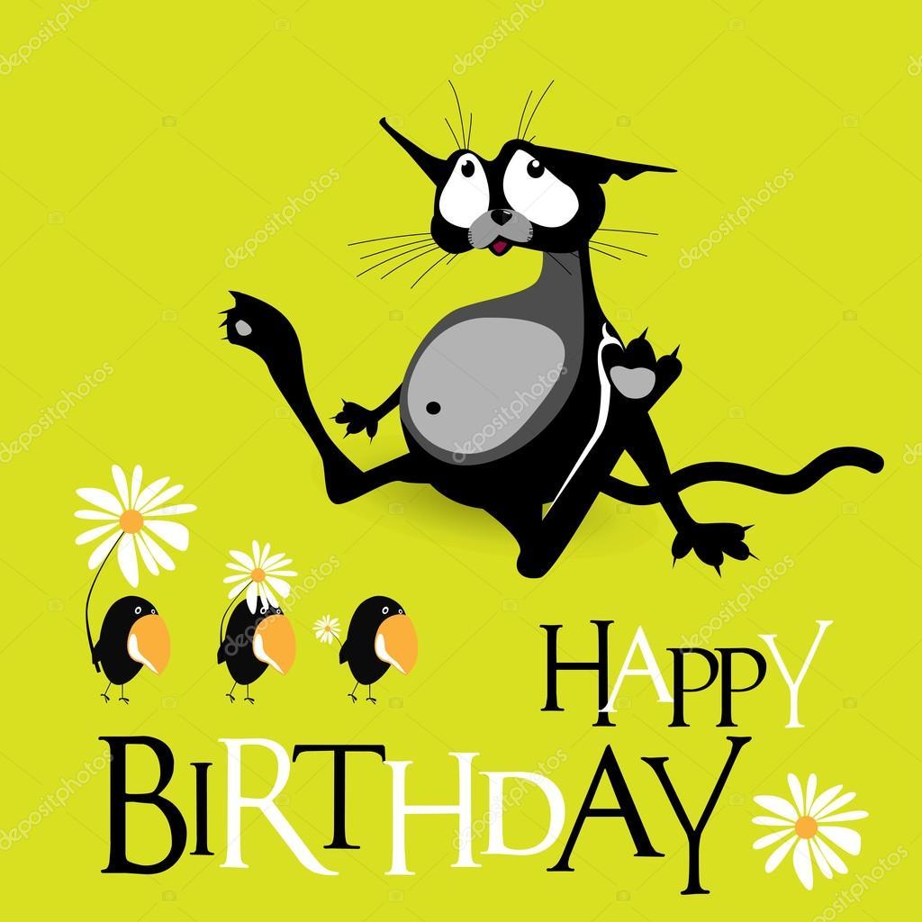 Gelukkige Verjaardag Kat Vogels Glimlach Stockvector C Novkota1