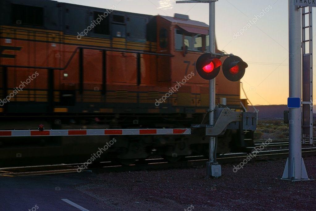 Railroad crossing at night — Stock Photo © ginton #101573202