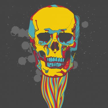 Colorful skull with ornament