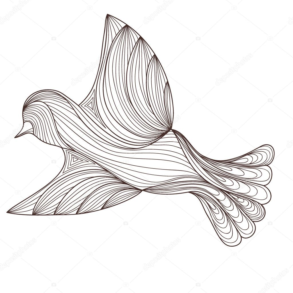 bird isolated on white background. contour of the lines. zenart stylized. doodle outline