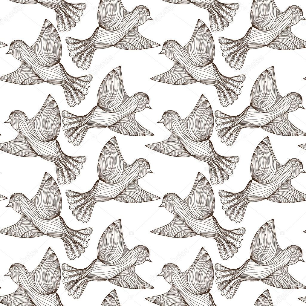 seamless pattern of line birds. vector illustration. dark outline on white background