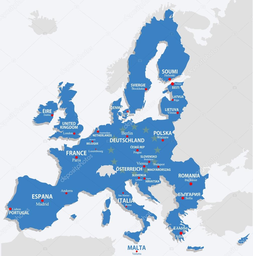 European Union Map With All Europe Countries And Capital Name - Capital of all countries