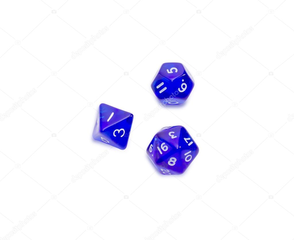 Specialized Polyhedral Dice On A Light Background Stock Photo