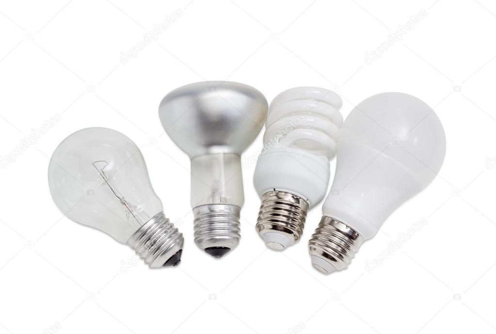 Varie lampade elettriche di diversi tipi di illuminazione