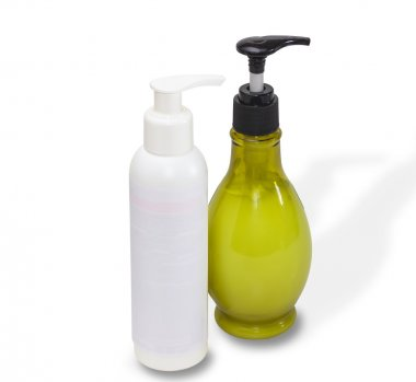 Two bottles with cosmetics