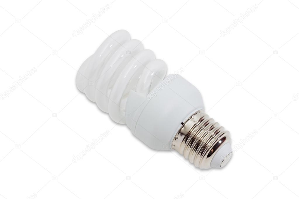 Lampada Tubolare Fluorescente : Lampada fluorescente compatta su sfondo chiaro u foto stock