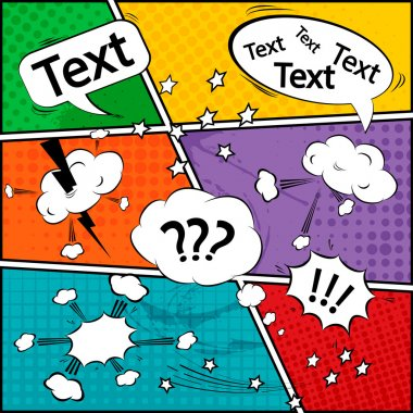 Comic speech bubbles and comic strip background