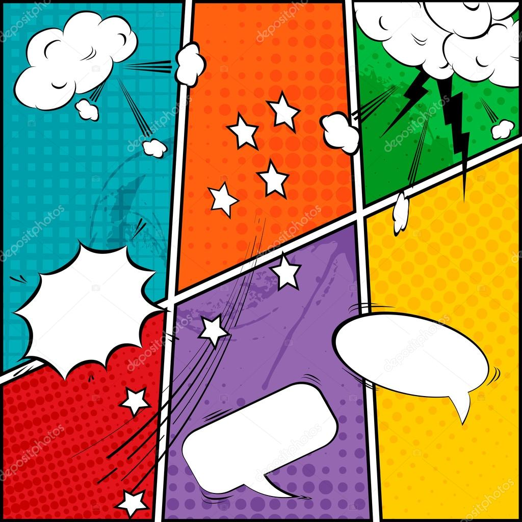Comic Speech Bubbles And Strip Background Vector Illustration By Hobonski