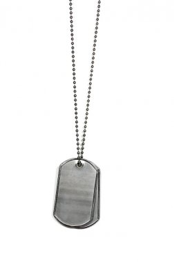 Military dog tags on white