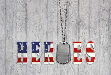 Military heroes with dog tags