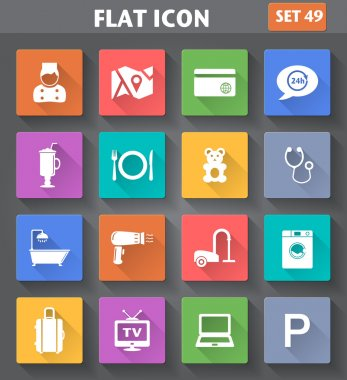 Vector application Hotel Services and Facilities Icons. Set 1 in