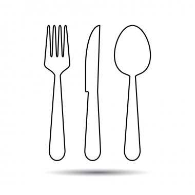 Knife, Fork and Spoon thin line style