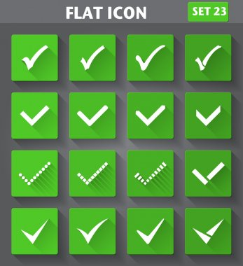 Check Marks or Ticks Icons set in flat style with long shadows.