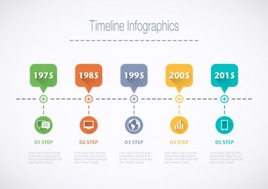 Timeline Infographic with pointers and text in retro style