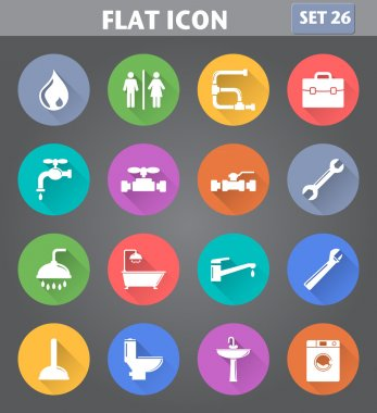 Plumbing Icons set in flat style with long shadows.