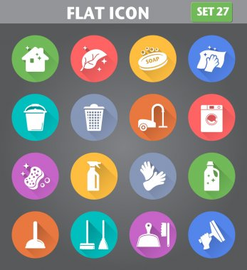 Cleaning Icons set in flat style with long shadows.