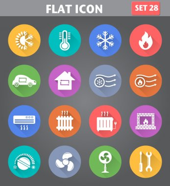 Vector application Heating and Cooling Icons set in flat style with long shadows. clip art vector