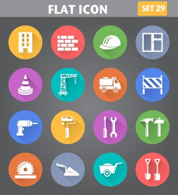 Building, Construction and Tools Icons set in flat style