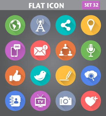 Social Network and Internet Icons set in flat style