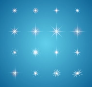 Set of Vector glowing light effect stars bursts with sparkles stock vector