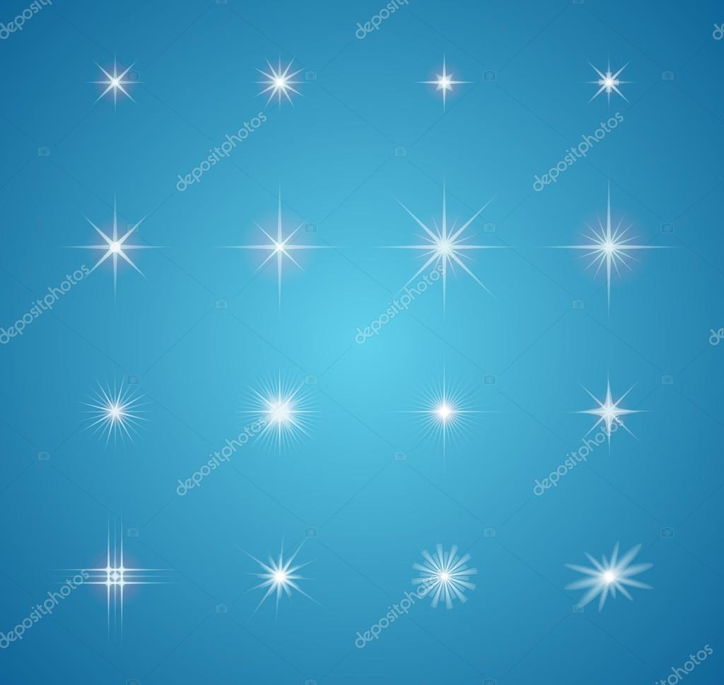 Set of glowing light effect stars bursts