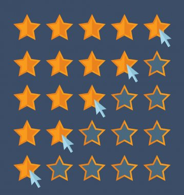 Concept for customer review. Cursor arrow choosing rating stars.