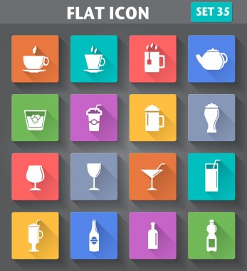 Vector application Drinks Icons set in flat style